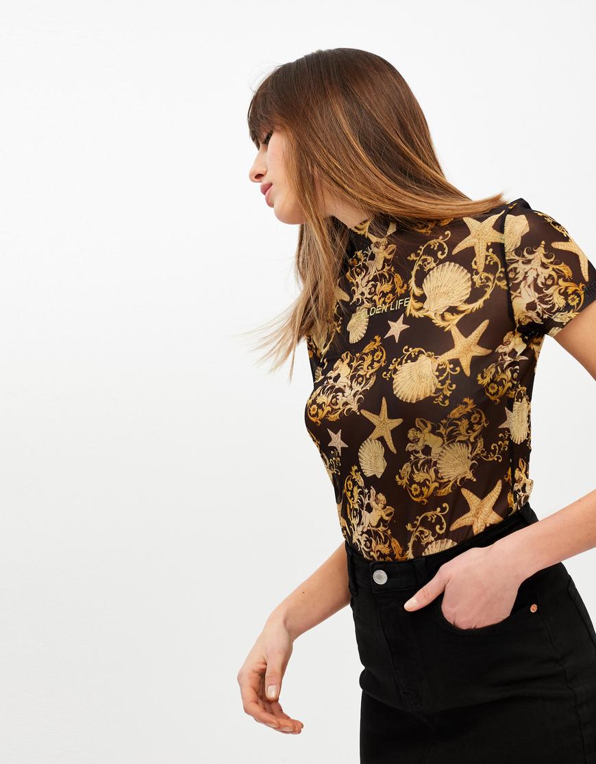 Mesh Shell Print T-Shirt