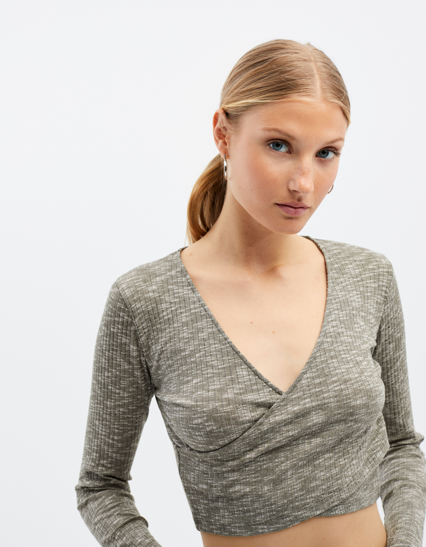 Grey Wrap Crop Top