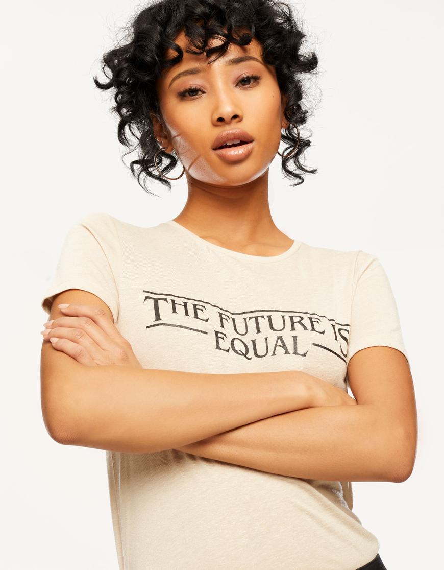 T-shirt Beige con Slogan