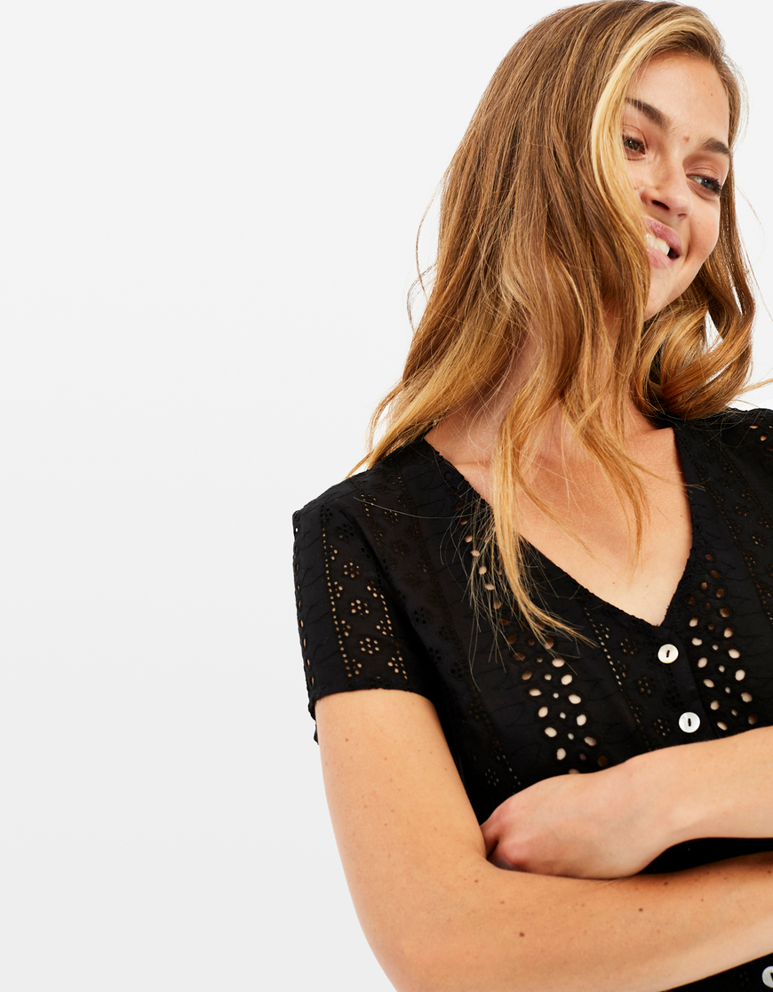 Black English Embroidery Top