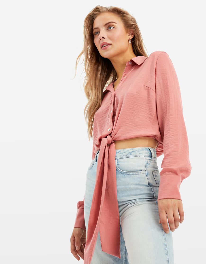 Camicia Rosa Corta in Raso