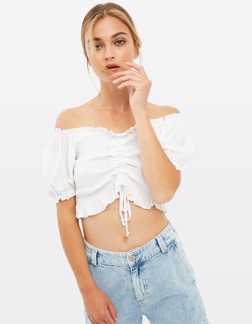 Blusa Bianca Arricciata