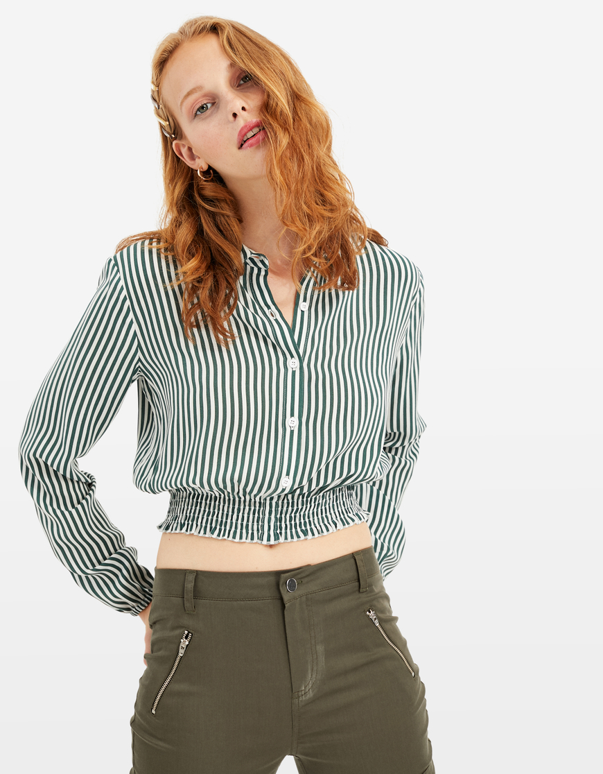 Striped Cropped Shirt