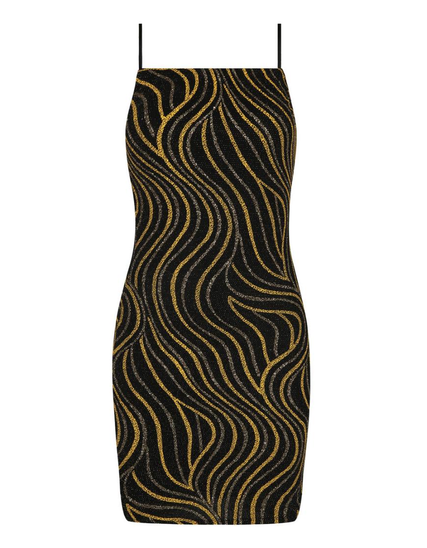 Black & Yellow Glitter Dress