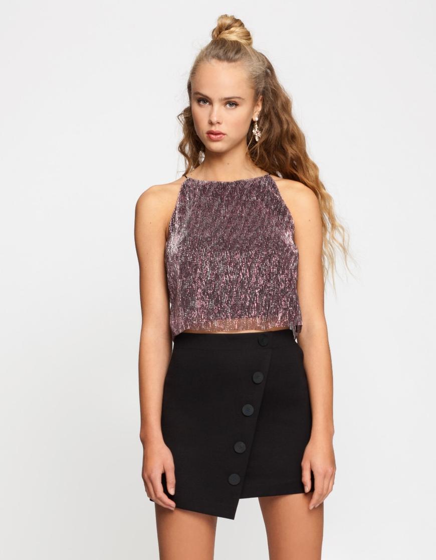 Black Buttonned Skirt