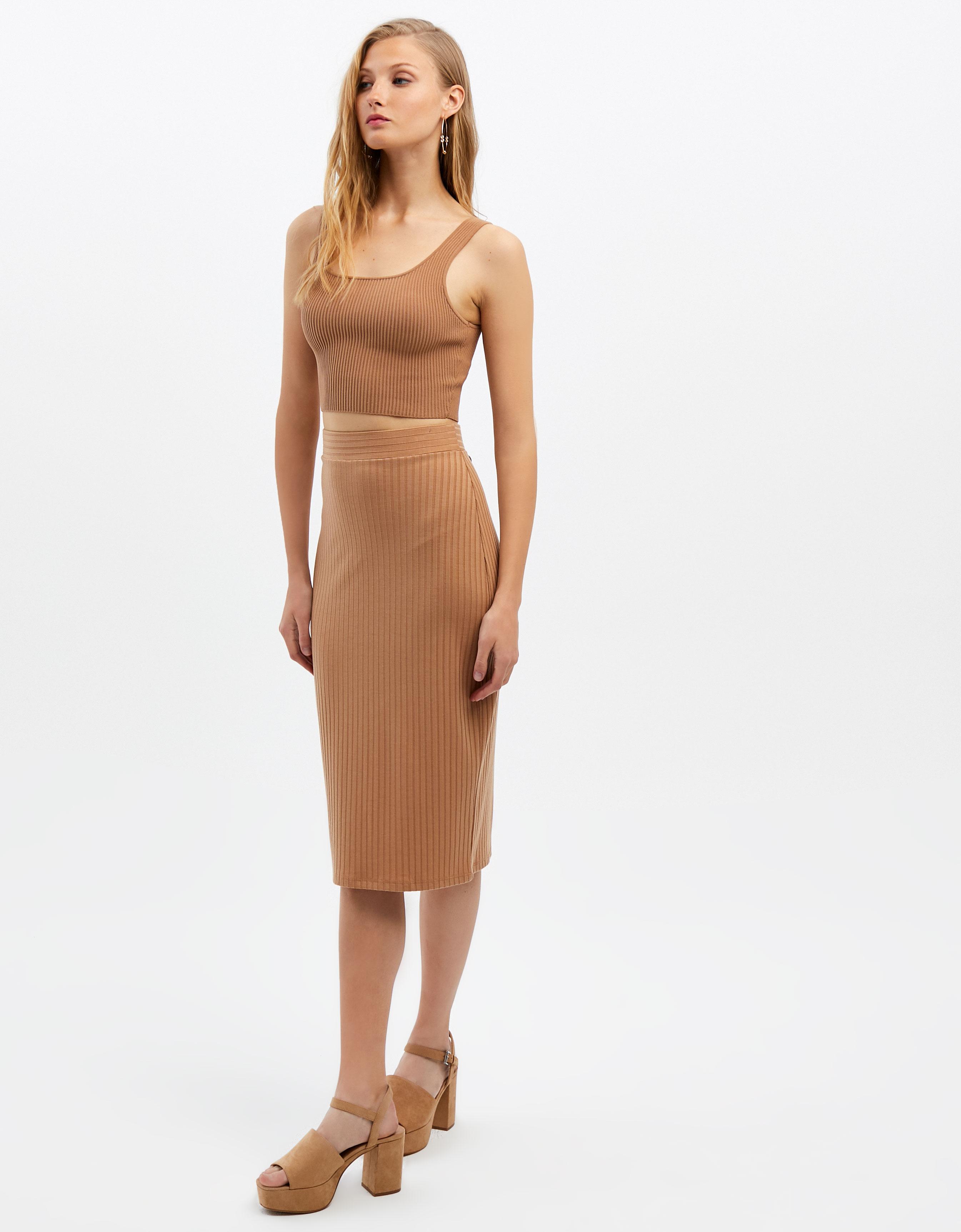6053ae2290c3ea Beige Pencil Skirt | TALLY WEiJL Online Shop