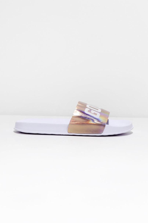 Weiße Badeslipper mit Print