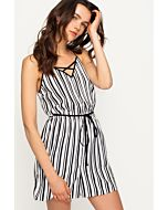 White Striped Playsuit