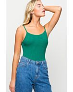 Ribbed Basic Green Bodysuit