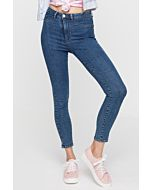 High-Waist Blue Skinny Jeans