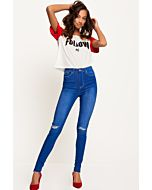 Blaue Destroyed Jeans