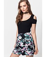 Black Flower Skater Skirt