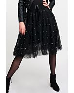 Black Tulle Skirt with Pearls