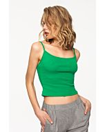 Green Ribbed Crop Top