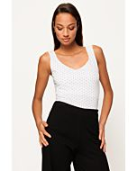 White Polka Dot Sleeveless Top