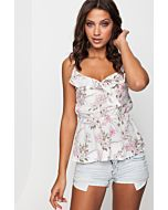 White Frilled Floral Top