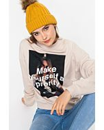 Beige Photo Print Sweatshirt