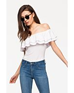 White Frill Bare Shoulder Top