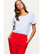 Blue Basic Short Sleeves Top