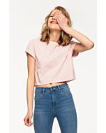 Pink Embroidered Crop Top