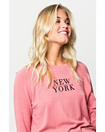"Pink Top with Slogan ""New York"""