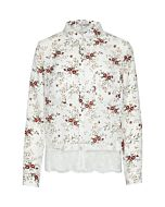 White Floral Shirt with Lace