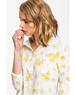 White Shirt with Yellow Flower Print