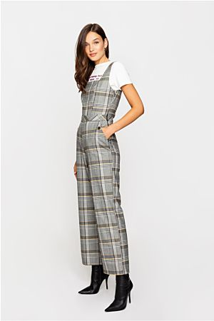 Grey Woven Dungarees
