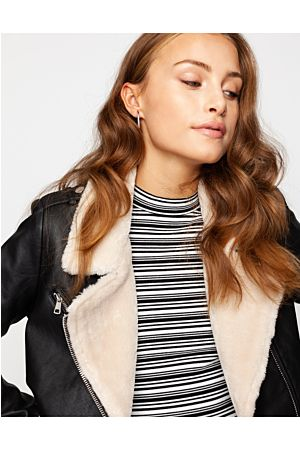 Biker Jacket with Faux Fur Lining