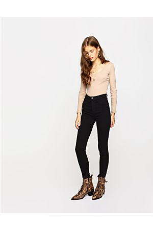 Black High Waist Push-Up Trousers