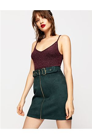 Green Suedette Skirt