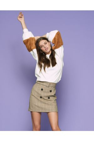 Beige Houndstooth Skirt