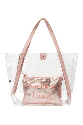 Pinke, transparente Shopper Tasche