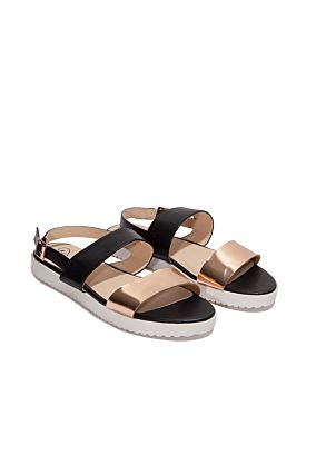 Black & Copper Sandals