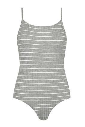 Grey Striped Bodysuit