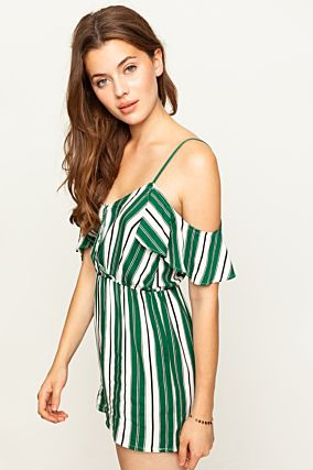 Green Striped Playsuit