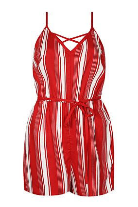 Red Striped Playsuit