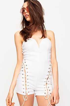 White Laced Up Playsuit