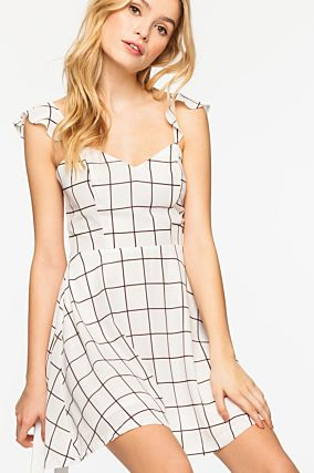 White Checked Dress