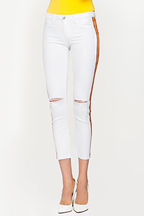 White Destroyed Trousers