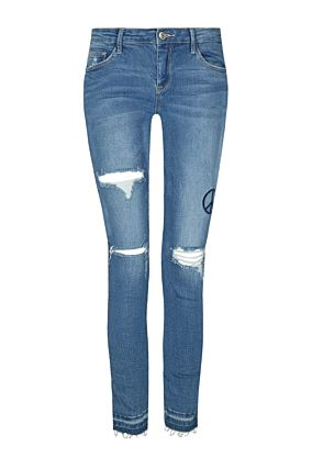 Destroyed Side Stripe Jeans