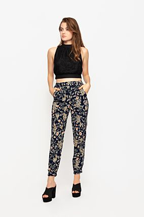 Floral Side Stripe Pants