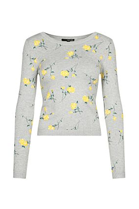 Grey Floral Jumper
