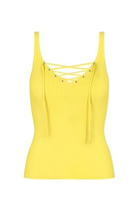 KNIT TOP LACING FRONT YEL008 L