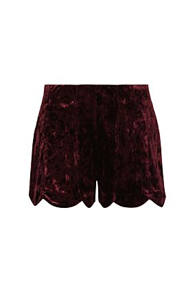 Short en Velours Bordeaux