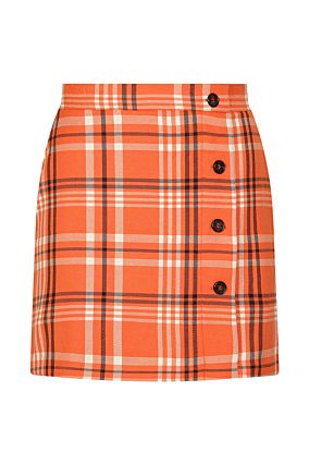 Orange Checked Skirt
