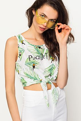 Crop Top Blanc Tropical