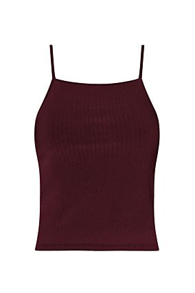 Burgundy Ribbed Tank Top