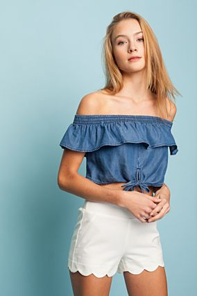Top Corto in Denim con Ruche