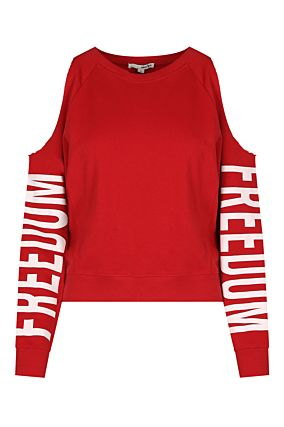 Red Cold Shoulder Sweatshirt